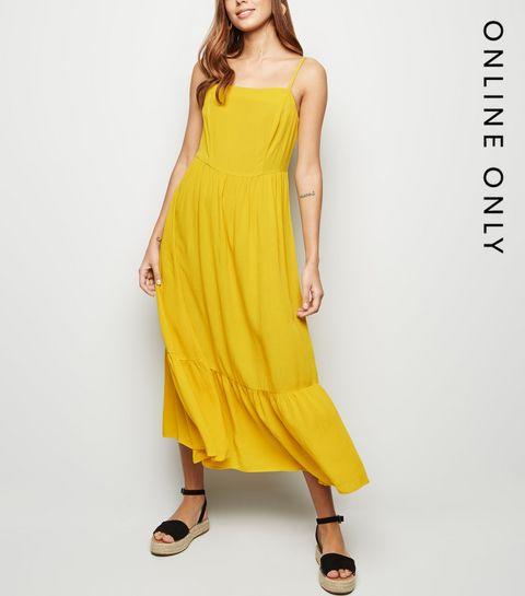 35054f86151 ... Yellow Crinkle Tiered Hem Midaxi Dress ...