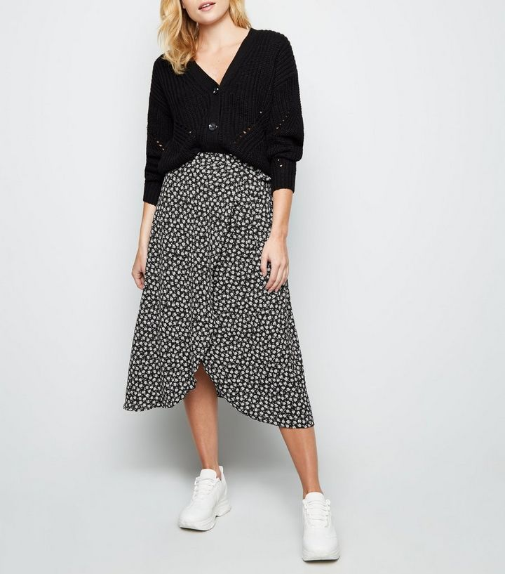 official images huge sale best selection of 2019 Black Ditsy Floral Wrap Midi Skirt Add to Saved Items Remove from Saved  Items