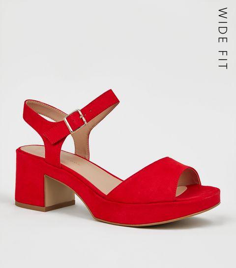 910361d4961f ... Wide Fit Red Suedette 2 Part Platform Heels ...