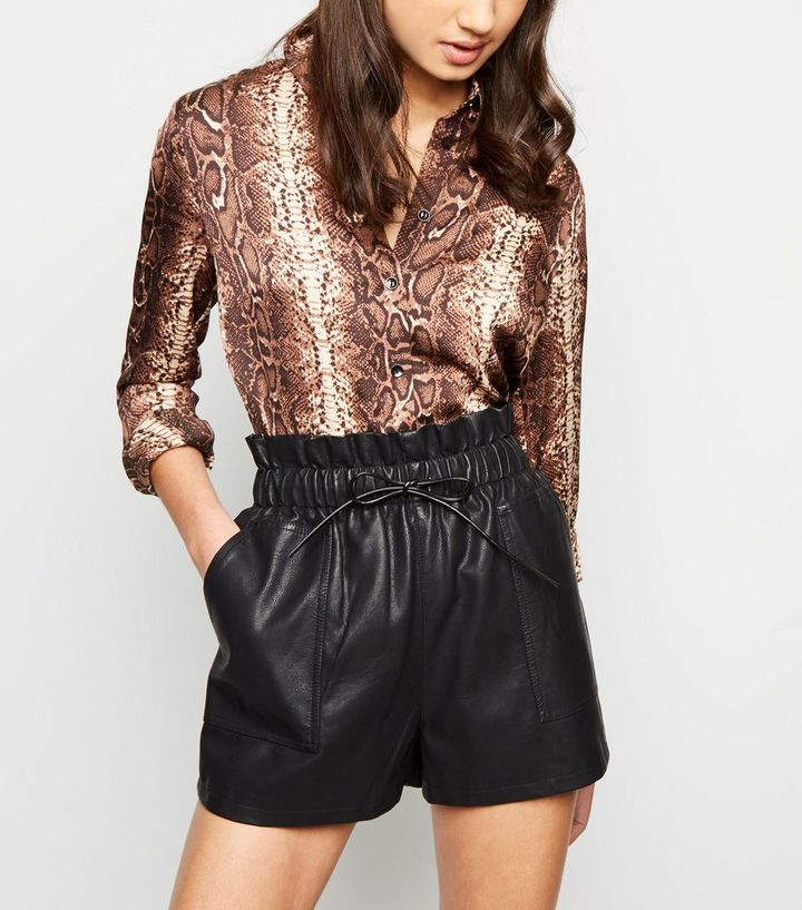 f4252db0096 Cameo Rose Black Leather-Look Shorts