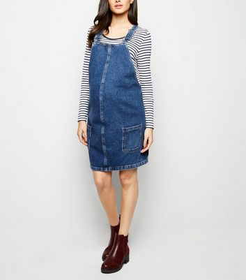 Maternity Blue Denim Mini Pinafore Dress