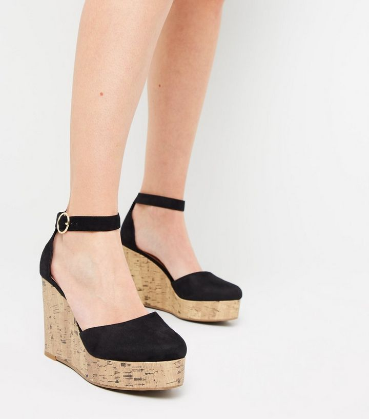 74ef09561e4 ... Black Suedette Cork Effect Platform Wedges. ×. ×. ×. Shop the look