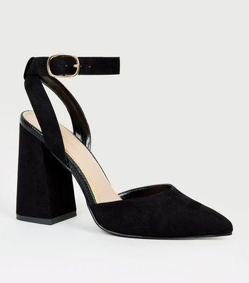 Black Suedette Pointed Block Heel Courts