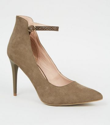 Khaki Faux Snake Strap High Cut Court Shoes