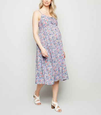 Maternity Lilac Floral Lattice Front Midi Dress