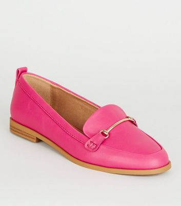 Bright Pink Leather-Look Loafers