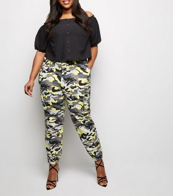Curves Grey Neon Camo Cuffed Utility Trousers
