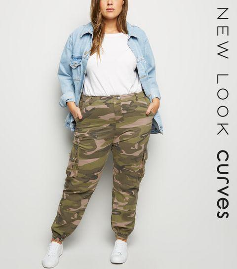 c54efd46a10 ... Curves Khaki Camo Cuffed Utility Trousers ...