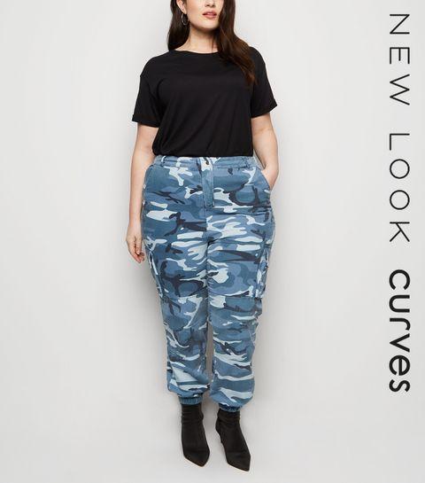 4f5797061eb ... Curves Grey Camo Cuffed Utility Trousers ...