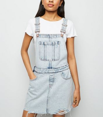 Petite Pale Blue Acid Wash Dungaree Dress