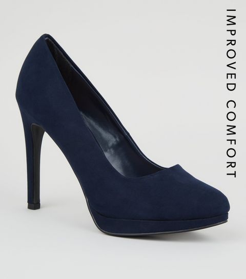 7934dc767ceb Navy Suedette Platform Court Shoes · Navy Suedette Platform Court Shoes ...
