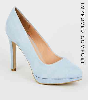 b7a64ffa5e Pale Blue Suedette Platform Court Shoes ...