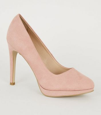 Pink Suedette Platform Court Shoes