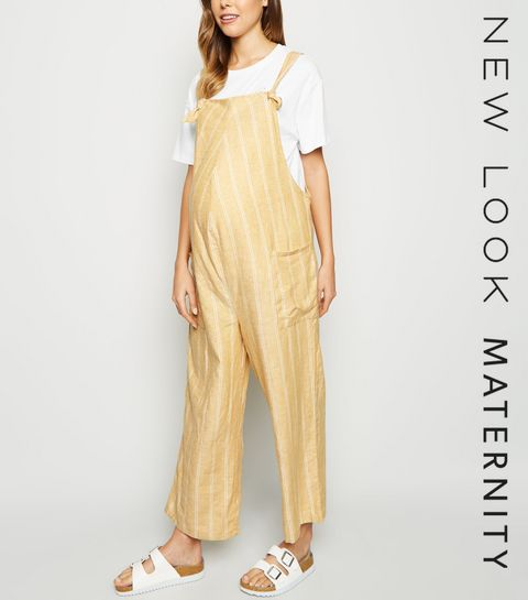 b126fa13635 ... Maternity Yellow Stripe Linen Blend Dungaree Jumpsuit ...