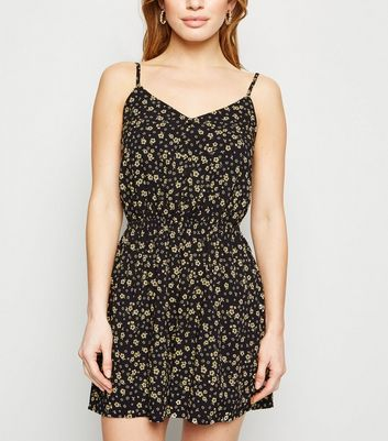 Petite Black Floral Button Playsuit