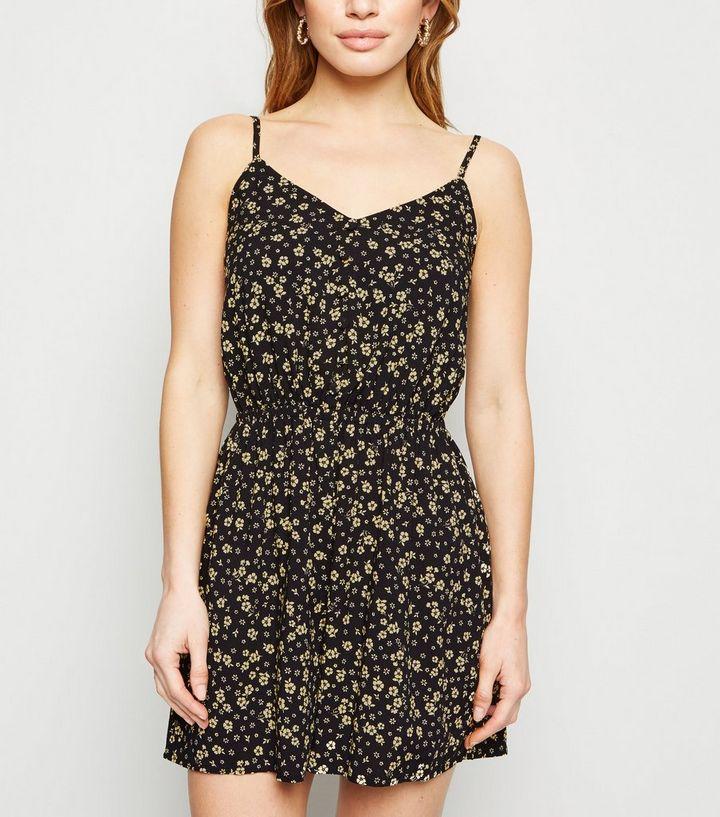 1b79a0cb3e06 Petite Black Floral Button Playsuit