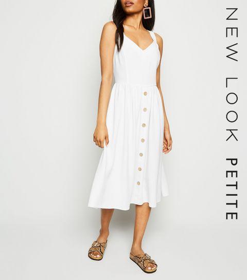 94142e2c48a7d0 ... Petite White Linen Look Button Front Midi Dress ...