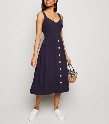 Petite Navy Linen Look Button Front Midi Dress