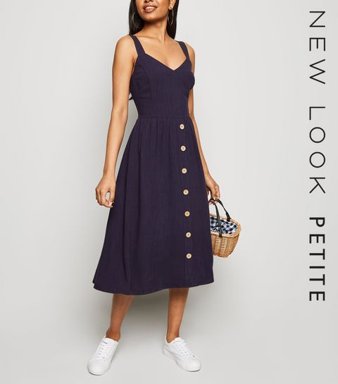 a2b06668414 Petite Navy Linen Look Button Front Midi Dress .