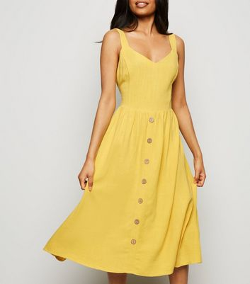 Petite Yellow Linen Look Button Front Midi Dress