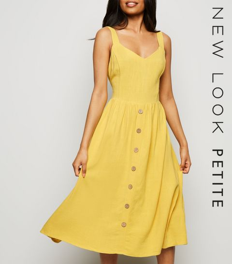 14f827d7c1ef ... Petite Yellow Linen Look Button Front Midi Dress ...