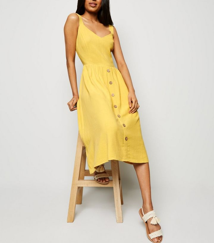 58914394a9 ... Petite Yellow Linen Look Button Front Midi Dress. ×. ×. ×. Shop the look