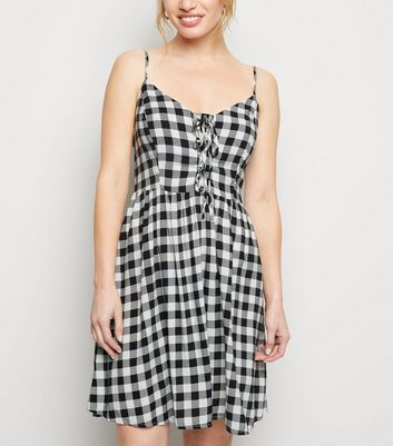 Petite Black Check Lace Up Mini Dress