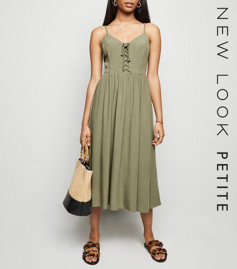 bf2bfa304409 ... Petite Khaki Lace Up Front Midi Dress ...