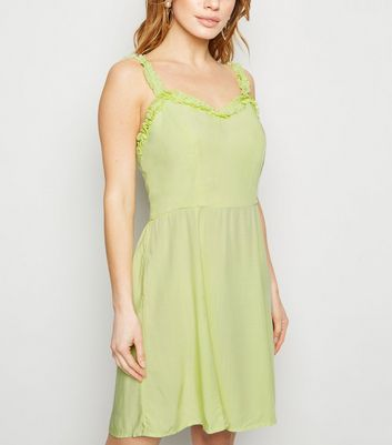Petite Light Green Frill Trim Sundress