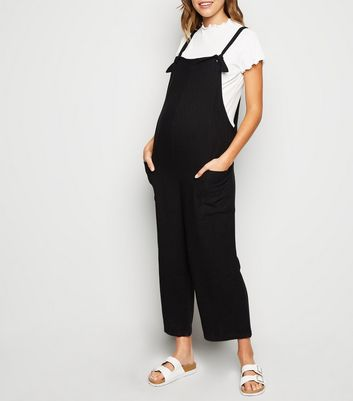 Maternity Black Linen Look Jumpsuit