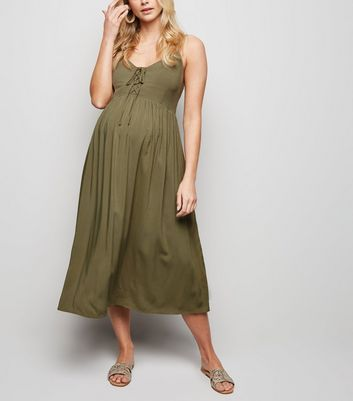 Maternity Khaki Lace Up Midi Dress