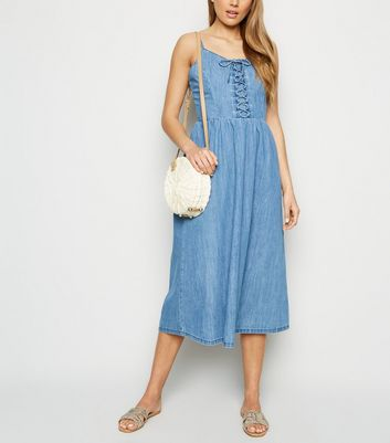 Tall Pale Blue Lace Up Denim Midi Dress