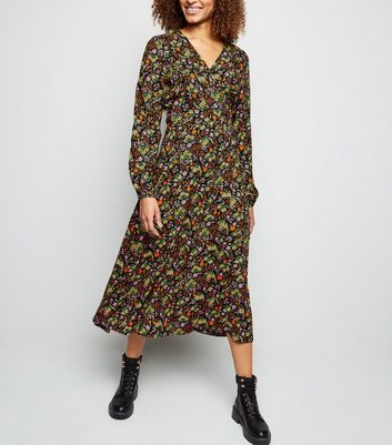 Tall Black Ditsy Floral Long Sleeve Button Midi Dress