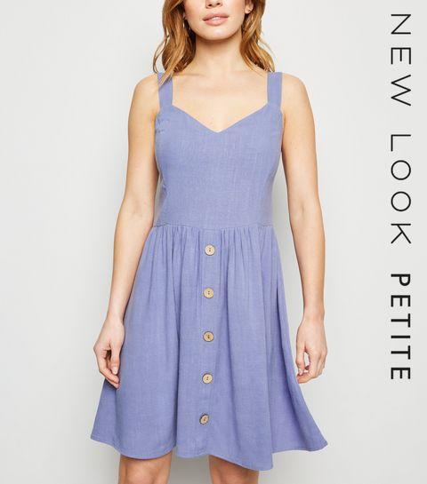 2808d3a55d2c ... Petite Light Purple Linen Look Button Dress ...