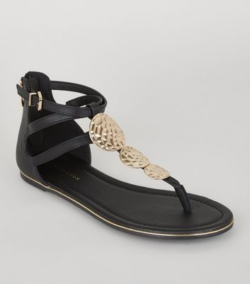 Black Leather-Look Hammered Metal Sandals