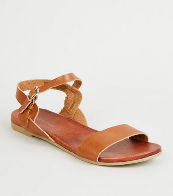 Tan Leather-Look Twist Strap Footbed Sandals