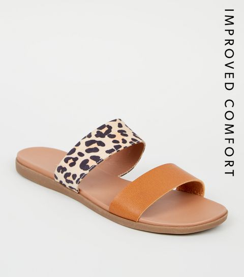 f557dccc42 ... Stone Leopard Print Strap Footbed Sliders ...