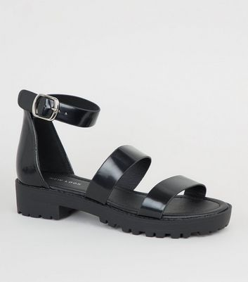 Black Chunky Strap Sandals | New Look