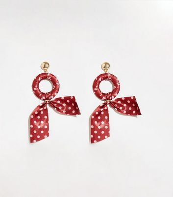 Red Spot Ribbon Wrapped Hoop Earrings