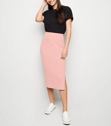 Pink Ribbed Midi Pencil Skirt