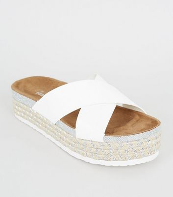 White Cross Strap Woven Glitter Footbed Sliders