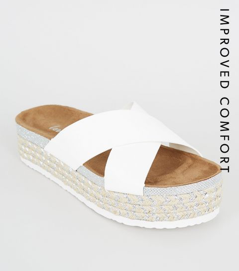 37cd2edfc3651 ... White Cross Strap Woven Glitter Footbed Sandals ...