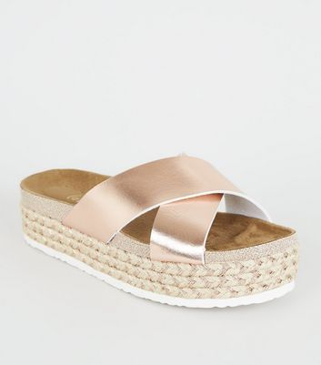 Rose Gold Cross Strap Woven Glitter Footbed Sliders