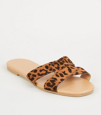 Stone Suedette Leopard Interlocked Strap Sliders