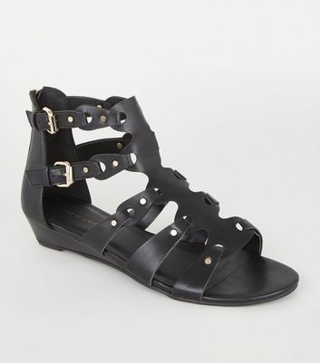 Black Leather-Look Studded Gladiator Sandals