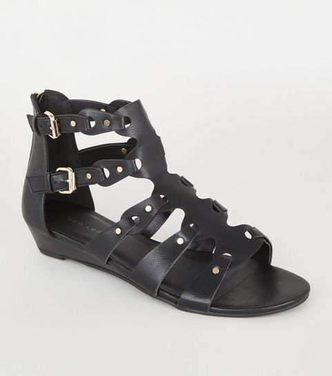 45274641bc9 ... Black Leather-Look Studded Gladiator Sandals ...