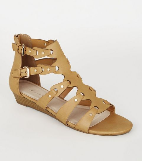 cf455eb89cb ... Tan Leather-Look Studded Gladiator Sandals ...