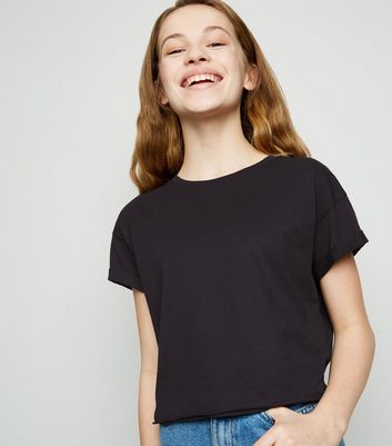Girls Black Short Sleeve Cotton T-Shirt