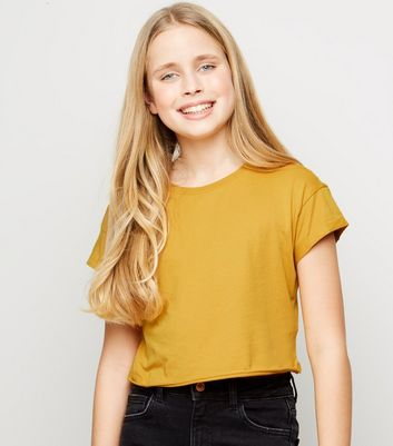 Girls Mustard Short Sleeve Cotton T-Shirt