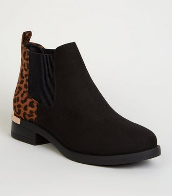 Wide Fit Black Leopard Print Metal Trim Chelsea Boots